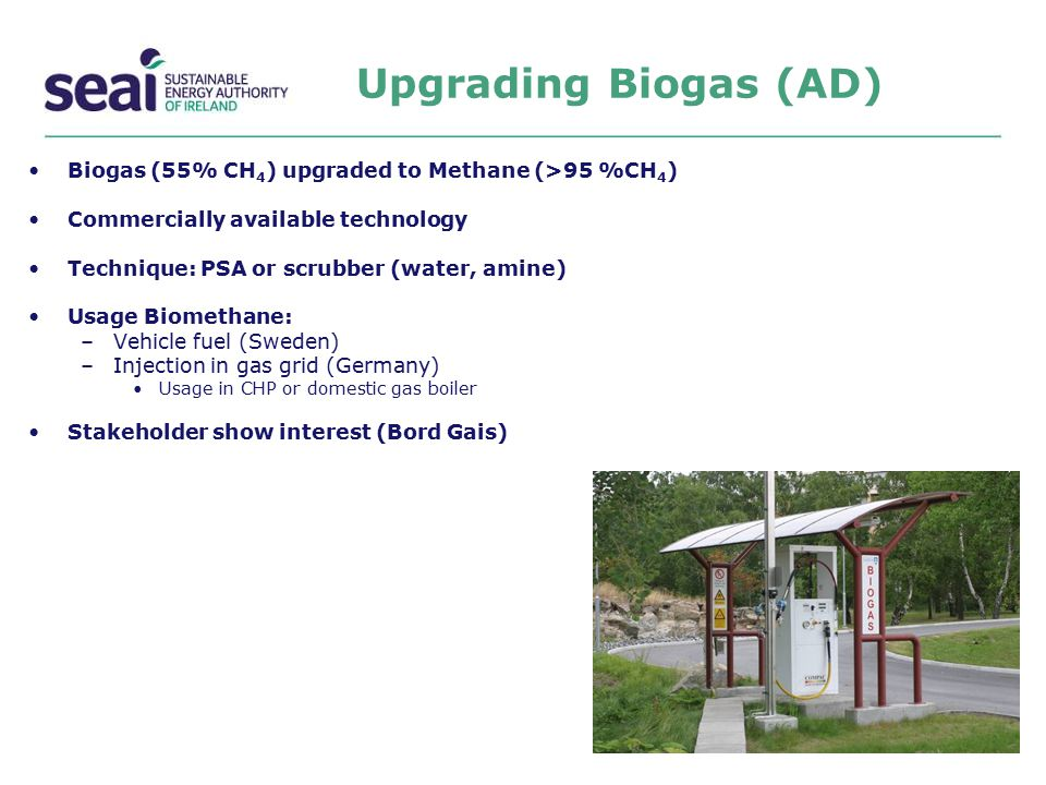 Upgrading Biogas (AD) Biogas (55% CH 4 ) upgraded to Methane (>95 %CH 4 ) Commercially available technology Technique: PSA or scrubber (water, amine)
