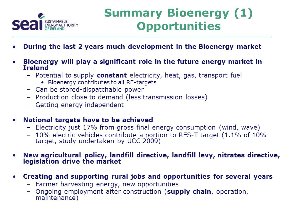Summary Bioenergy (1) Opportunities During the last 2 years much development in the Bioenergy market Bioenergy will play a significant role in the fut