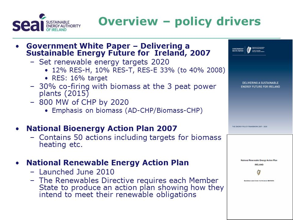 Overview – policy drivers Government White Paper – Delivering a Sustainable Energy Future for Ireland, 2007 –Set renewable energy targets 2020 12% RES