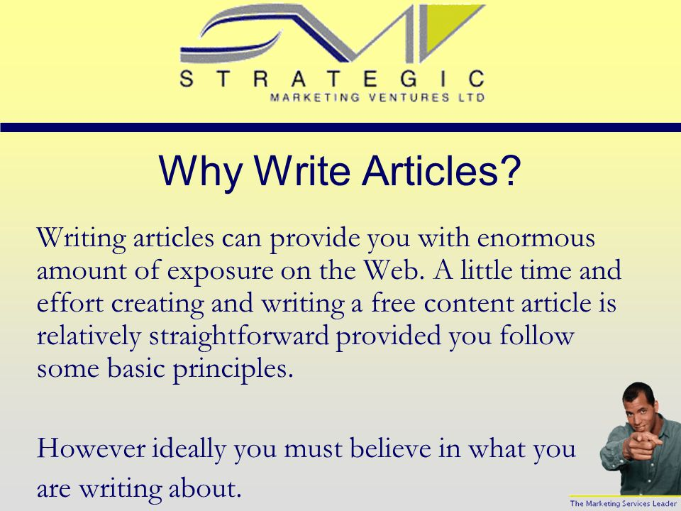 Small Business Resource Power Point Series Writing Articles for the Web
