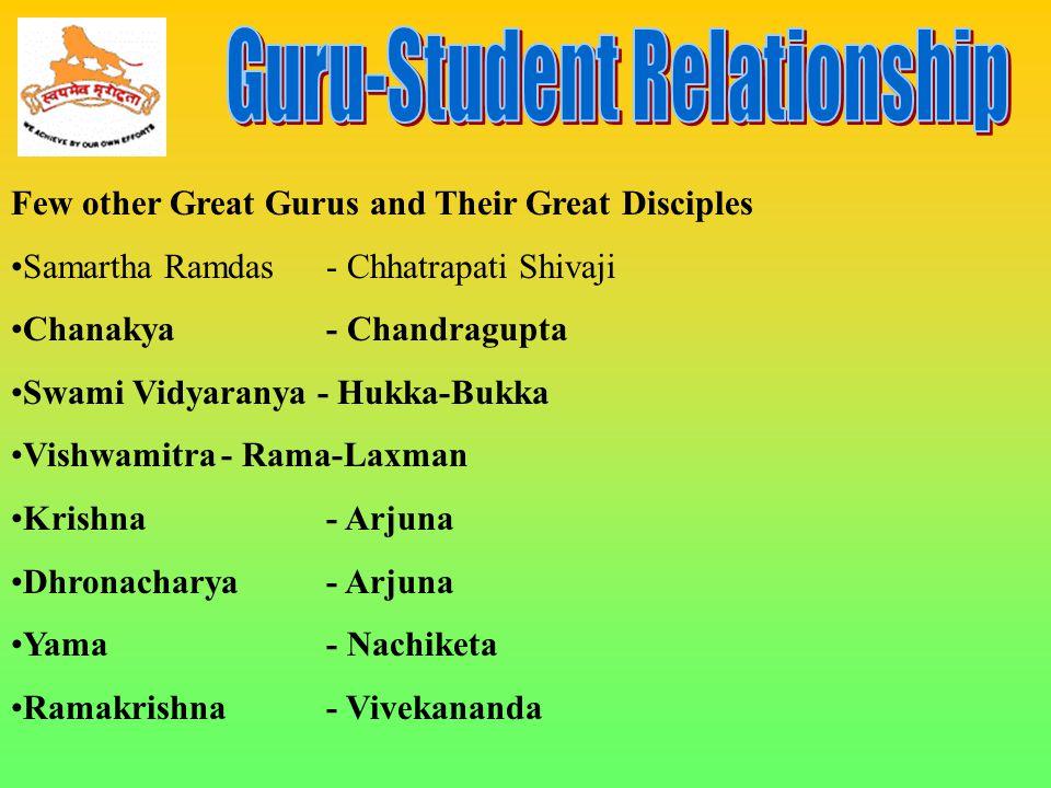 Few other Great Gurus and Their Great Disciples Samartha Ramdas- Chhatrapati Shivaji Chanakya- Chandragupta Swami Vidyaranya - Hukka-Bukka Vishwamitra