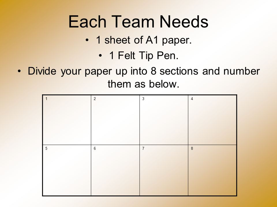 Each Team Needs 1 sheet of A1 paper. 1 Felt Tip Pen. Divide your paper up into 8 sections and number them as below. 1234 5678