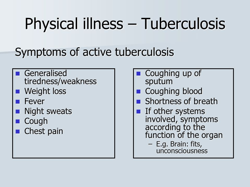Symptoms of active tuberculosis Physical illness – Tuberculosis Coughing up of sputum Coughing up of sputum Coughing blood Coughing blood Shortness of
