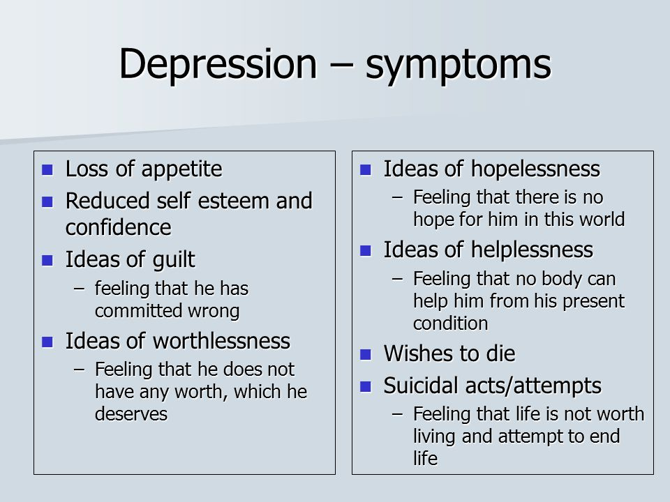 Depression – symptoms Loss of appetite Loss of appetite Reduced self esteem and confidence Reduced self esteem and confidence Ideas of guilt Ideas of