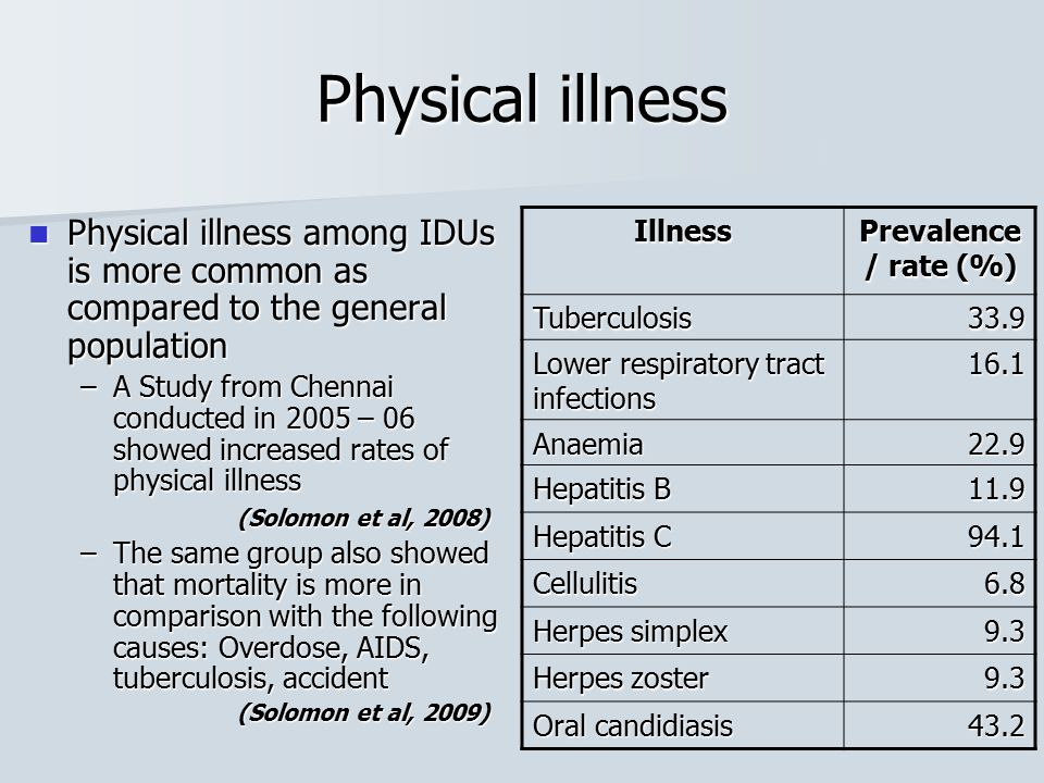 Physical illness Physical illness among IDUs is more common as compared to the general population Physical illness among IDUs is more common as compar