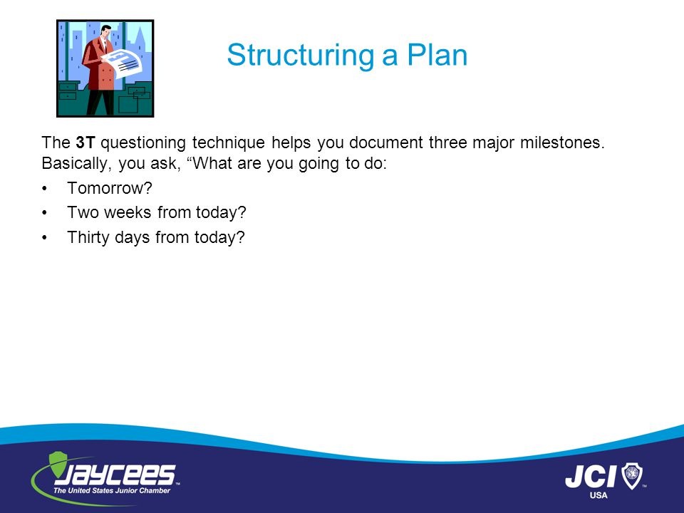 """Structuring a Plan The 3T questioning technique helps you document three major milestones. Basically, you ask, """"What are you going to do: Tomorrow? Tw"""