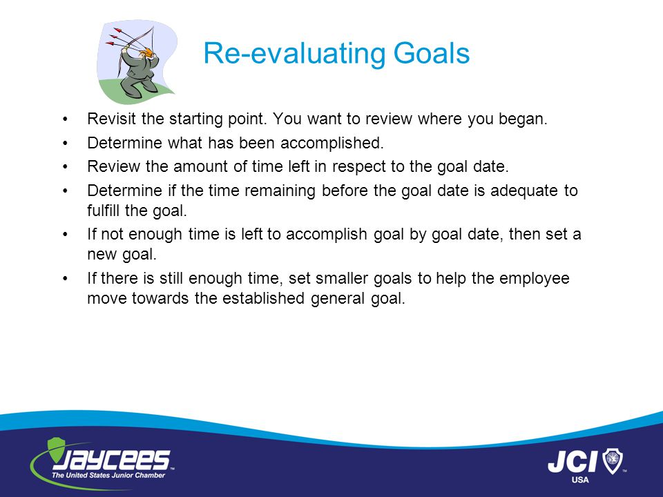 Re-evaluating Goals Revisit the starting point. You want to review where you began. Determine what has been accomplished. Review the amount of time le