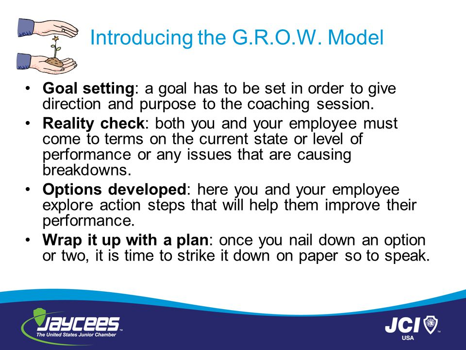 Introducing the G.R.O.W. Model Goal setting: a goal has to be set in order to give direction and purpose to the coaching session. Reality check: both