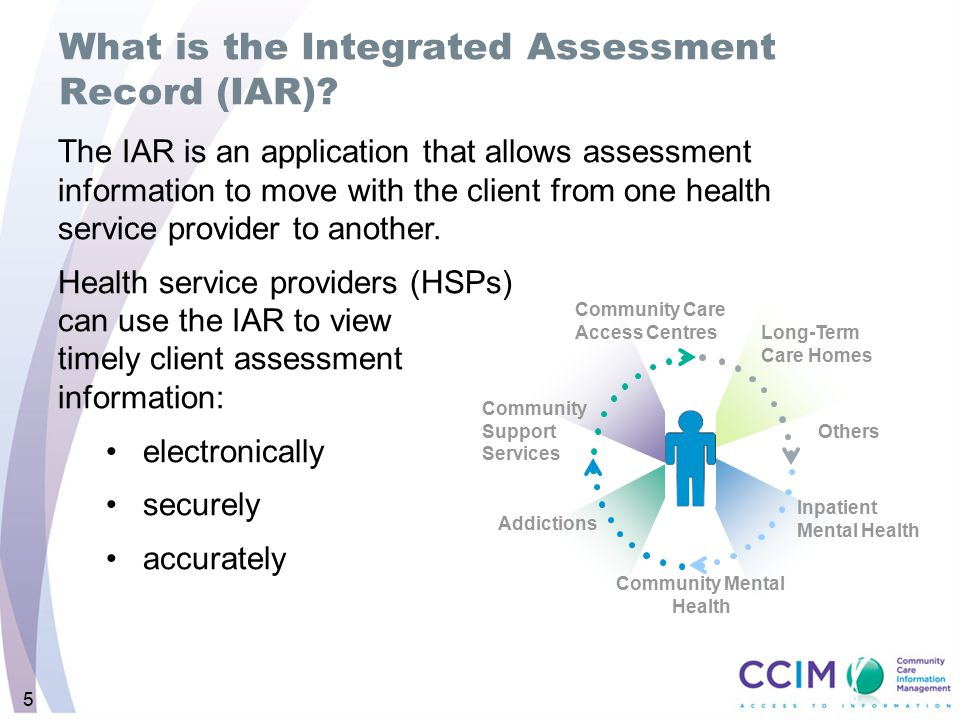 5 The IAR is an application that allows assessment information to move with the client from one health service provider to another. Health service pro