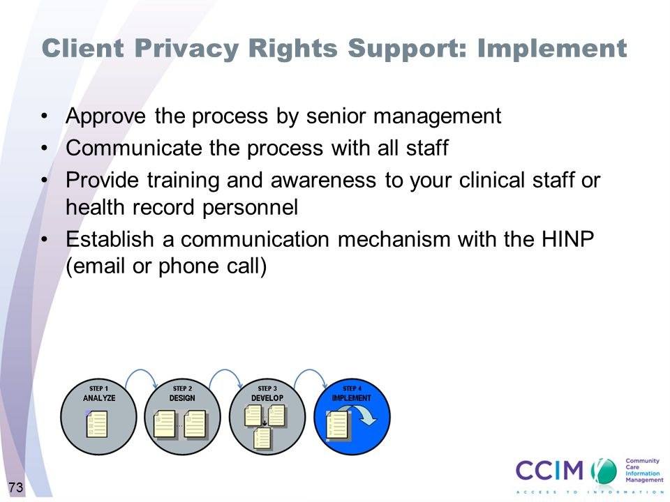 73 Client Privacy Rights Support: Implement Approve the process by senior management Communicate the process with all staff Provide training and aware