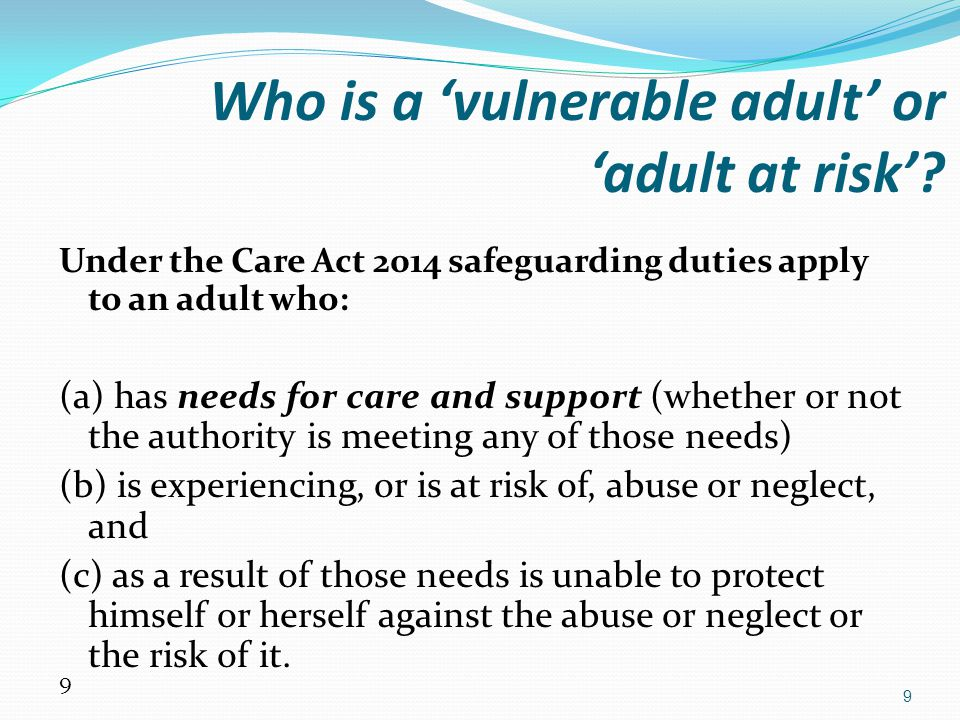 30 Reasons for under-reporting of abuse by housing staff include: A narrow, uninformed focus by the housing provider Different definitions of vulnerability Erroneous belief that consent by the victim is always necessary Incorrect assumption that evidence is needed before making an alert or referral Inadequate policies regarding service refusal and insufficient understanding of the Mental Capacity Act 2005 Poor practice in offering accommodation to victims rather than addressing the abuse through safeguarding procedures.