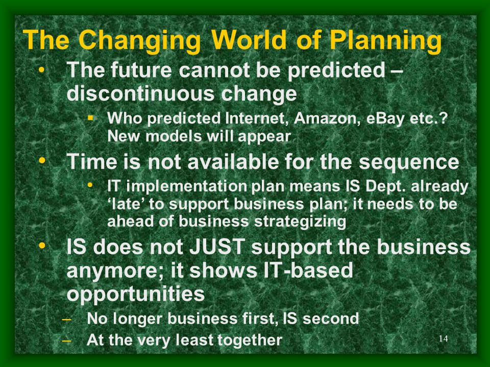 14 The Changing World of Planning The future cannot be predicted – discontinuous change  Who predicted Internet, Amazon, eBay etc.? New models will a