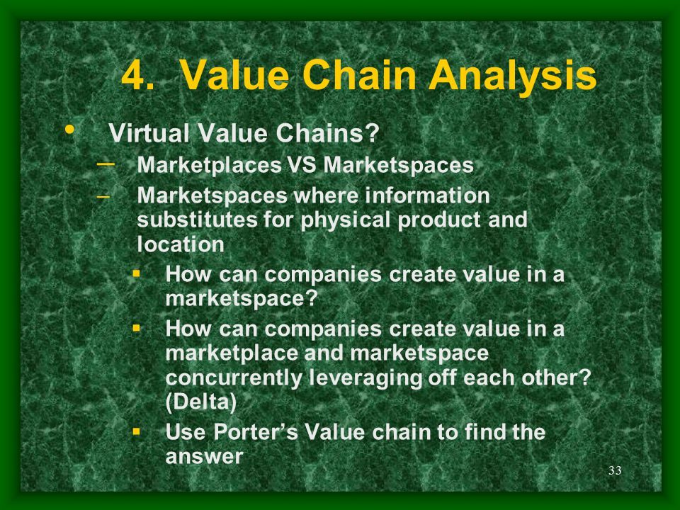 33 4. Value Chain Analysis Virtual Value Chains? – Marketplaces VS Marketspaces –Marketspaces where information substitutes for physical product and l