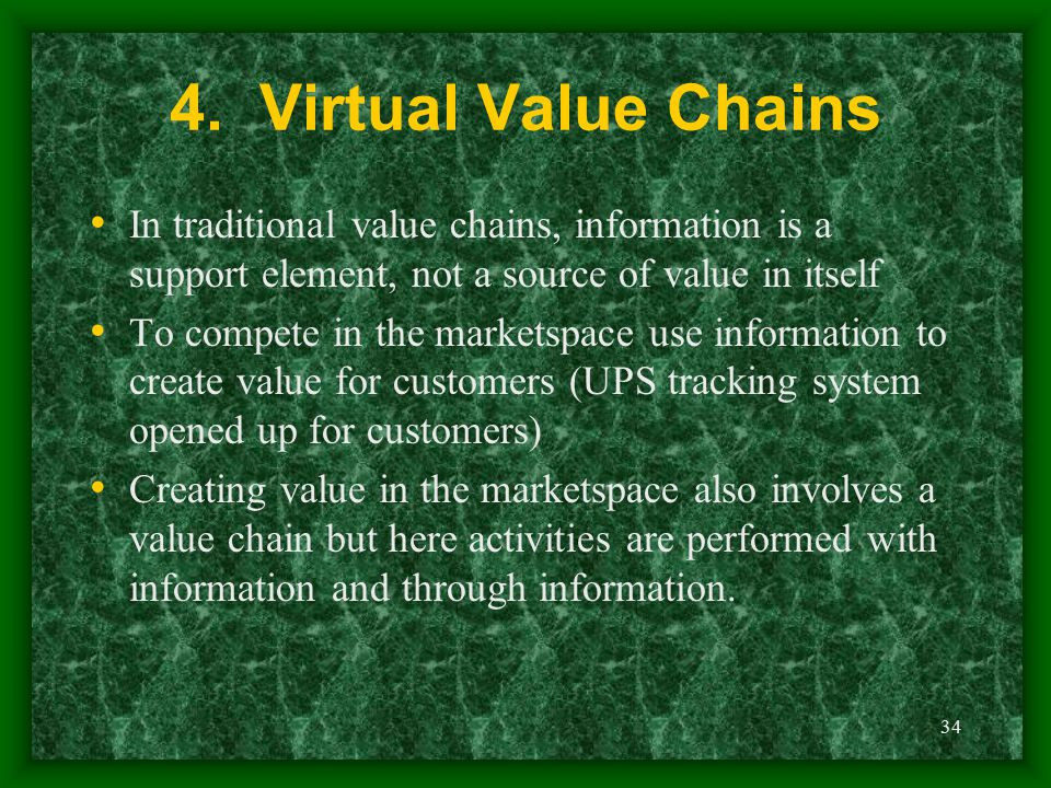 34 4. Virtual Value Chains In traditional value chains, information is a support element, not a source of value in itself To compete in the marketspac