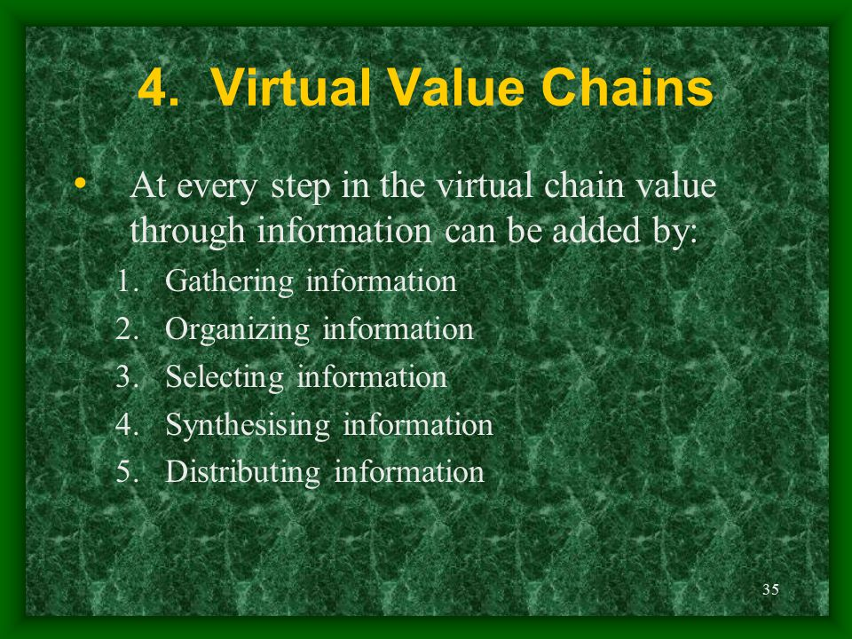 35 4. Virtual Value Chains At every step in the virtual chain value through information can be added by: 1.Gathering information 2.Organizing informat
