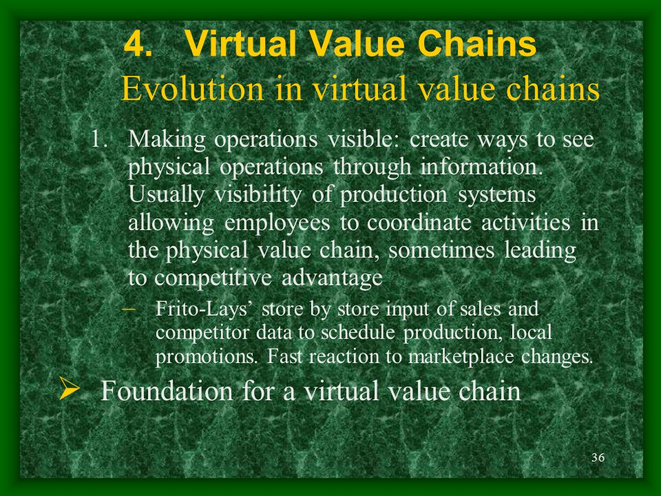 36 4.Virtual Value Chains Evolution in virtual value chains 1.Making operations visible: create ways to see physical operations through information. U