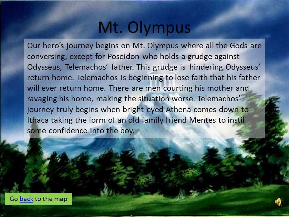 MT. OLYMPUS Beginning End Click on the pictures in the order of Telemachos' Journey to learn more about each stop! After learning about each stop, cli
