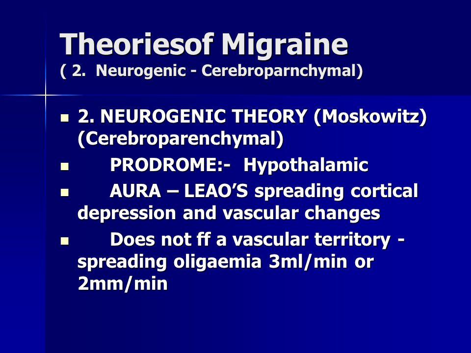 Theoriesof Migraine ( 2. Neurogenic - Cerebroparnchymal) 2. NEUROGENIC THEORY (Moskowitz) (Cerebroparenchymal) 2. NEUROGENIC THEORY (Moskowitz) (Cereb