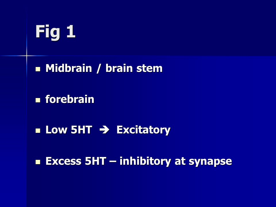 Fig 1 Midbrain / brain stem Midbrain / brain stem forebrain forebrain Low 5HT  Excitatory Low 5HT  Excitatory Excess 5HT – inhibitory at synapse Excess 5HT – inhibitory at synapse