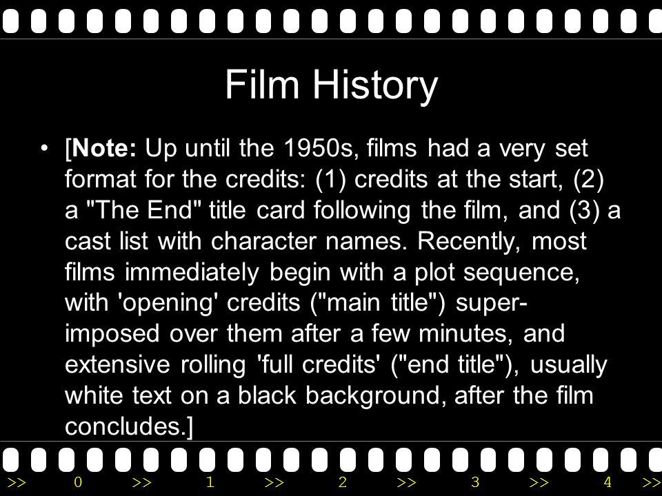 >>0 >>1 >> 2 >> 3 >> 4 >> Things to consider Consider a film s main title and its opening credits: Why was the specific title chosen (were there any other alternatives considered ), and how do the credits establish a tone or mood.