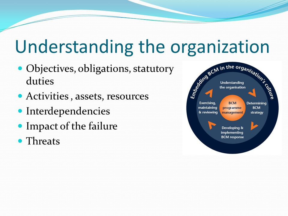 Understanding the organization Objectives, obligations, statutory duties Activities, assets, resources Interdependencies Impact of the failure Threats