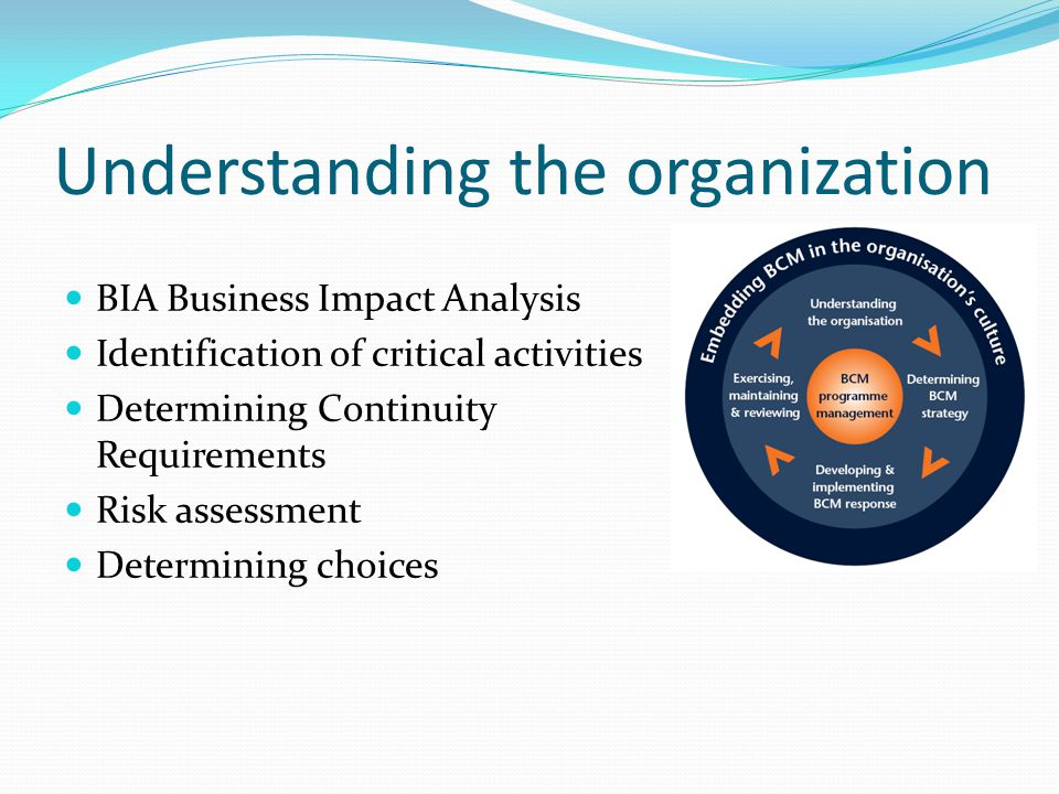 Understanding the organization BIA Business Impact Analysis Identification of critical activities Determining Continuity Requirements Risk assessment Determining choices
