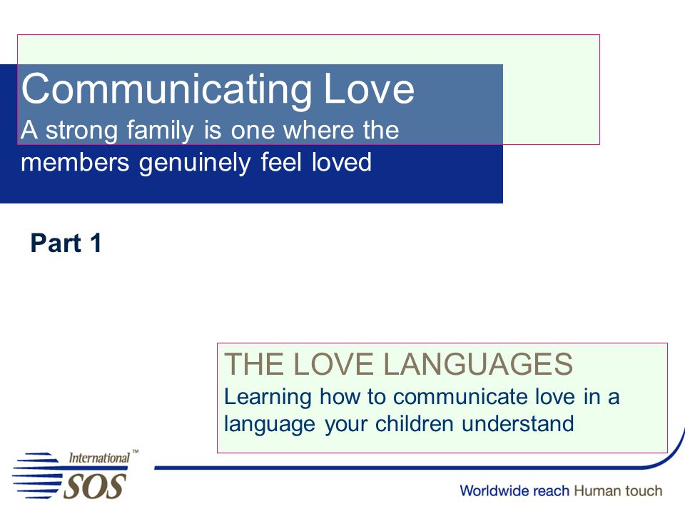 Part 1 THE LOVE LANGUAGES Learning how to communicate love in a language your children understand Communicating Love A strong family is one where the