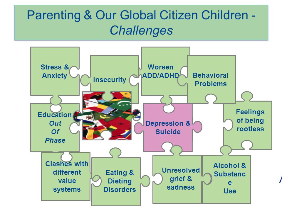 Parenting & Our Global Citizen Children - Challenges Feelings of being rootless Worsen ADD/ADHD Behavioral Problems Depression & Suicide Education Out Of Phase Stress & Anxiety Insecurity Clashes with different value systems Eating & Dieting Disorders Unresolved grief & sadness Alcohol & Substanc e Use