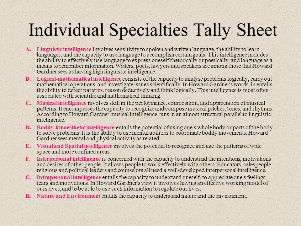 Individual Specialties Tally Sheet A.Linguistic intelligence involves sensitivity to spoken and written language, the ability to learn languages, and the capacity to use language to accomplish certain goals.