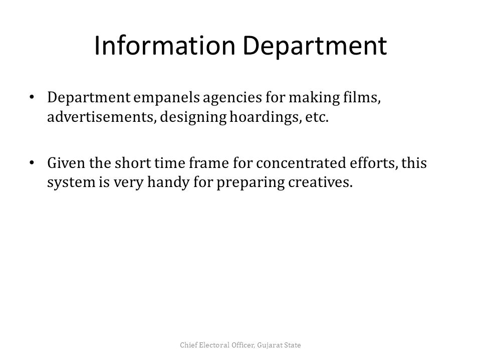 Information Department Department empanels agencies for making films, advertisements, designing hoardings, etc.