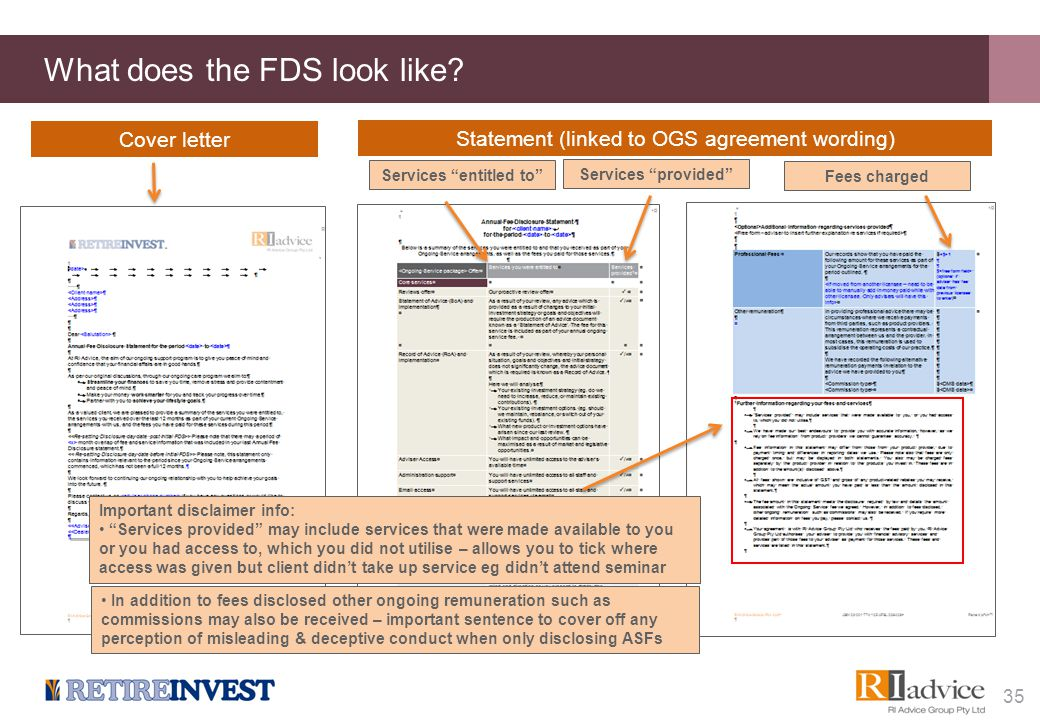 "What does the FDS look like? 35 Cover letter Statement (linked to OGS agreement wording) Services ""entitled to""Services ""provided""Fees charged Importa"