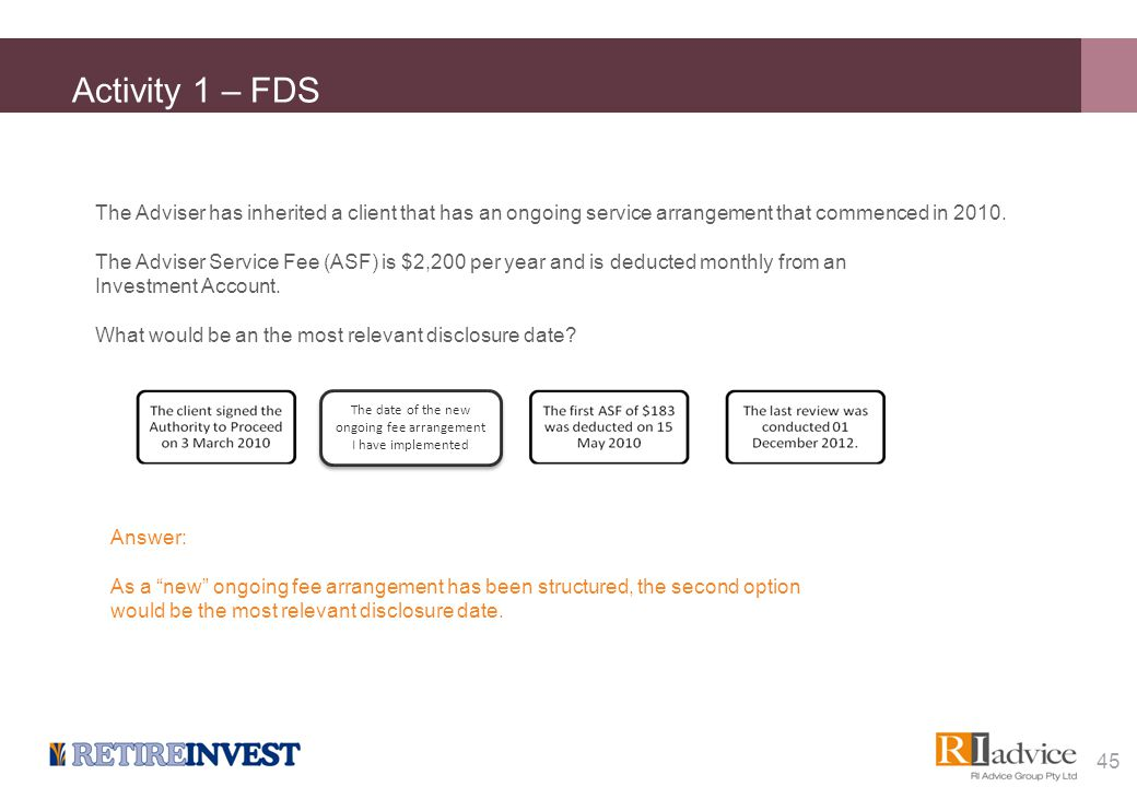 Activity 1 – FDS The Adviser has inherited a client that has an ongoing service arrangement that commenced in 2010. The Adviser Service Fee (ASF) is $
