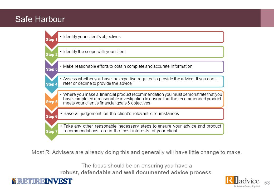 Safe Harbour Step 1 Identify your client's objectives Step 2 Identify the scope with your client Step 3 Make reasonable efforts to obtain complete and