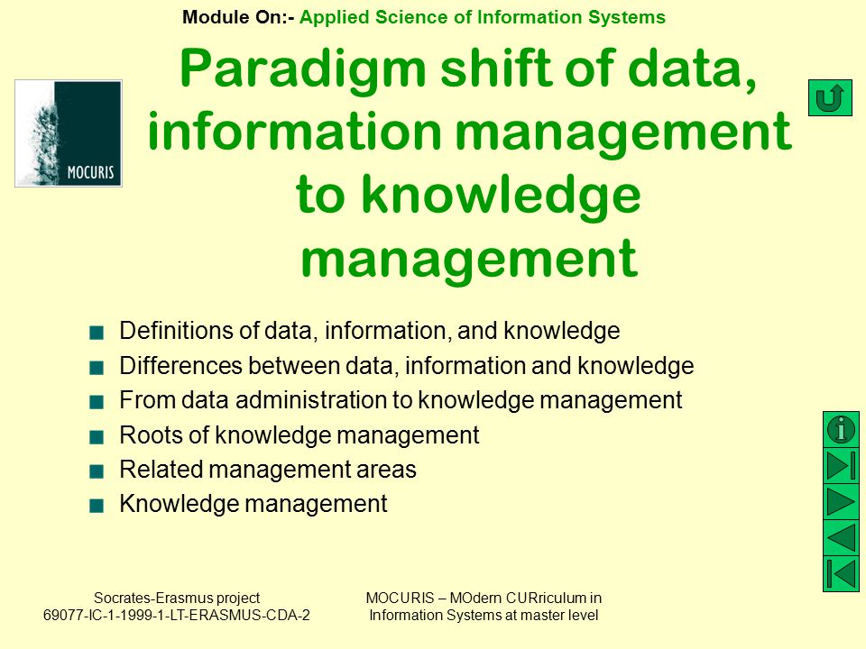 Socrates-Erasmus project 69077-IC-1-1999-1-LT-ERASMUS-CDA-2 Module On:- Applied Science of Information Systems MOCURIS – MOdern CURriculum in Information Systems at master level Definitions of Data Data is a set of discrete, objective facts about events.