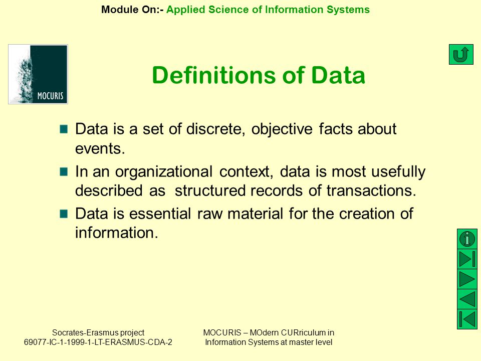 Socrates-Erasmus project 69077-IC-1-1999-1-LT-ERASMUS-CDA-2 Module On:- Applied Science of Information Systems MOCURIS – MOdern CURriculum in Information Systems at master level Possible forms of codified knowledge Documented knowledge Mapped knowledge Modeled knowledge Knowledge codified in systems The aim of knowledge codification is to put organizational knowledge into a form that makes it accessible to those who need it.