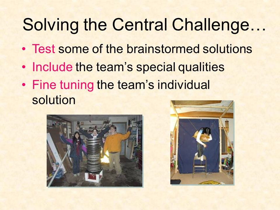 Solving the Central Challenge… Test some of the brainstormed solutions Include the team's special qualities Fine tuning the team's individual solution