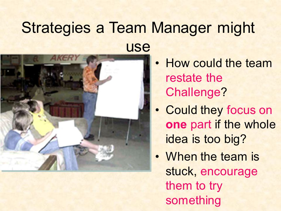 Strategies a Team Manager might use How could the team restate the Challenge.