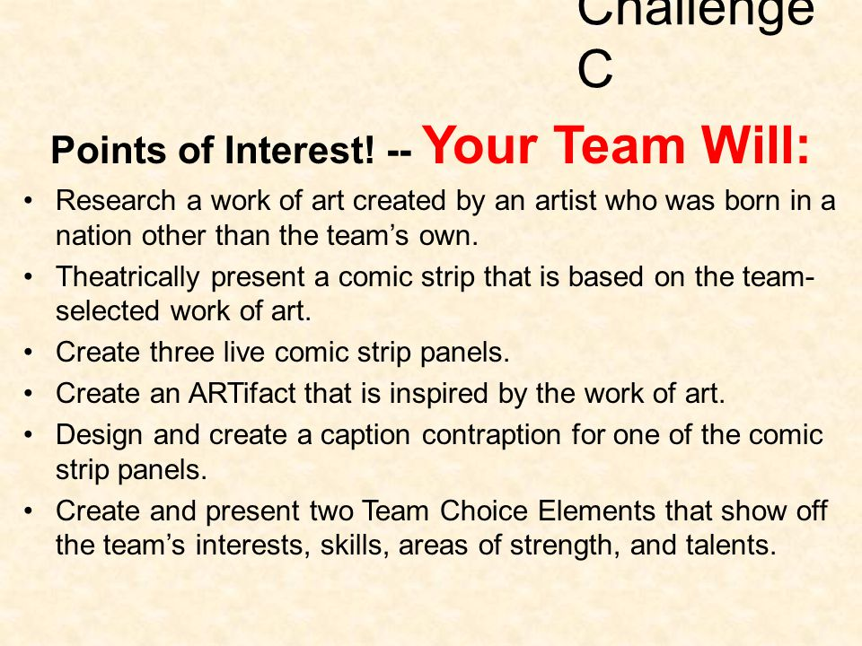 Challenge C Points of Interest! -- Your Team Will: Research a work of art created by an artist who was born in a nation other than the team's own. The