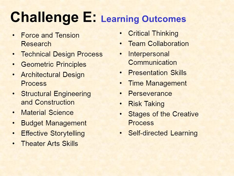 Challenge E: Learning Outcomes Force and Tension Research Technical Design Process Geometric Principles Architectural Design Process Structural Engineering and Construction Material Science Budget Management Effective Storytelling Theater Arts Skills Critical Thinking Team Collaboration Interpersonal Communication Presentation Skills Time Management Perseverance Risk Taking Stages of the Creative Process Self-directed Learning