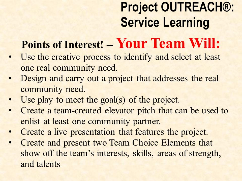 Project OUTREACH®: Service Learning Points of Interest.