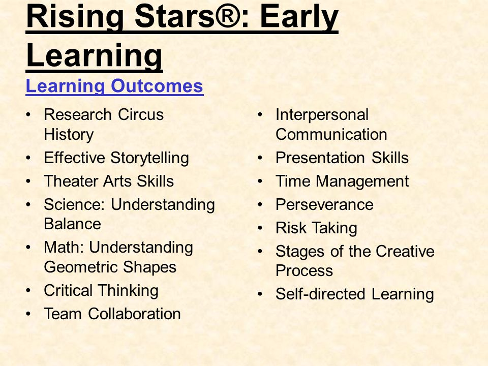 Rising Stars®: Early Learning Learning Outcomes Research Circus History Effective Storytelling Theater Arts Skills Science: Understanding Balance Math: Understanding Geometric Shapes Critical Thinking Team Collaboration Interpersonal Communication Presentation Skills Time Management Perseverance Risk Taking Stages of the Creative Process Self-directed Learning
