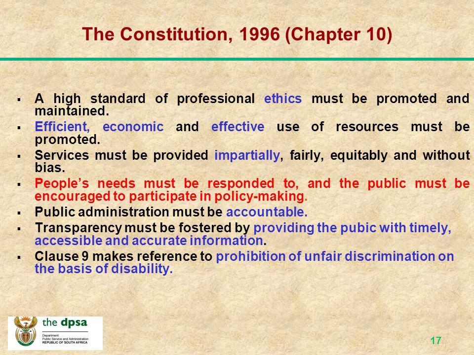 16 The Regulatory Framework PFMA 1999 PS Amend Act, 1999 PSC Act, 1997 W/Paper on Transf the PS -1995 AJA - 2000 W/Paper Trnsf PS Del Batho Pele, 1997