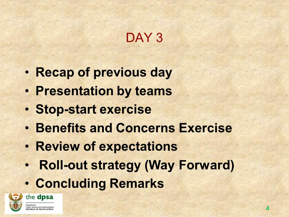 3 DAY 2 Recap of previous day Video and exercise on Batho Pele Heroes Belief Set and link with Batho Pele Principles Organisational Culture Teams and Team Work Drumming Managing Change Service Delivery Improvement Plans Cascading BP - Implementation Strategy