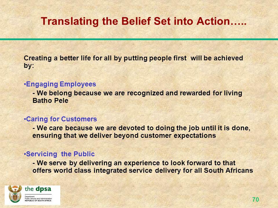 69 Batho Pele Vision & Belief Set The vision of Batho Pele that is expressed through a Belief Set, We Belong, We Care, We Serve .