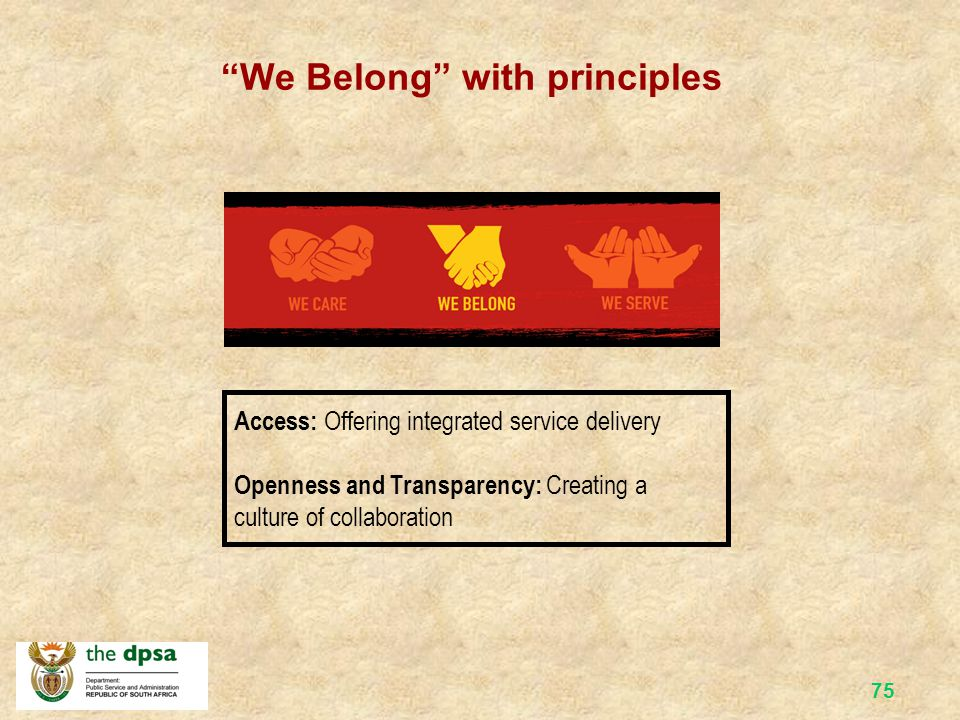 74 The Batho Pele Belief Set The result = proud to serve Looking after our people by… Creating a sense of belonging among public servants Creating a c