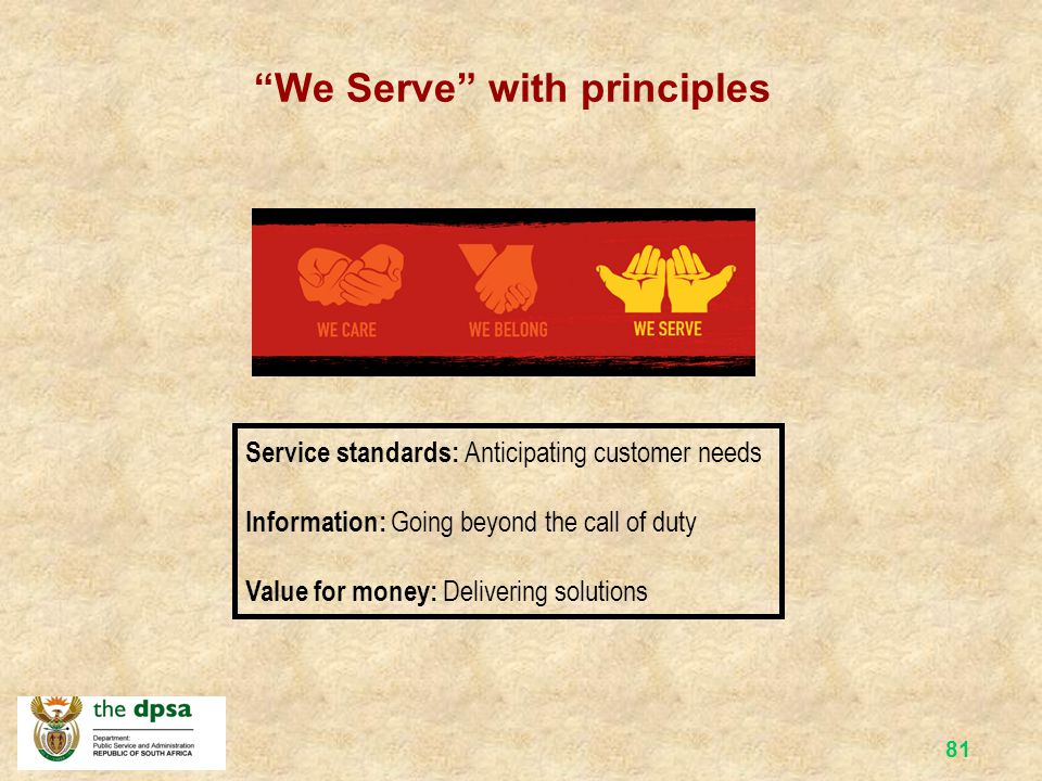 80 The Batho Pele Belief Set The result = proud to serve Creating a better life by… Anticipating customer needs – customer surveys on what services they would want to receive Offering integrated service delivery – e.g.