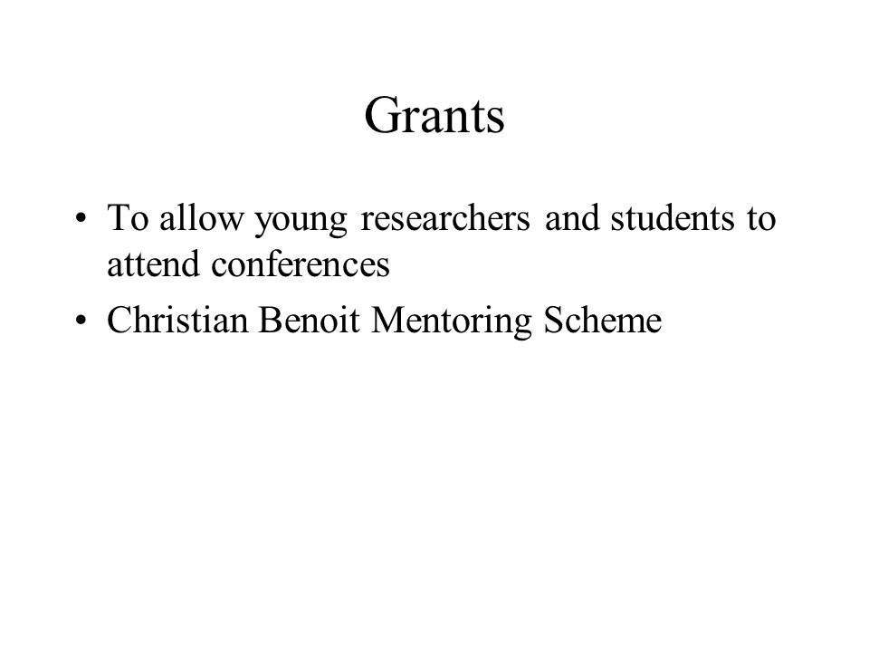 Grants To allow young researchers and students to attend conferences Christian Benoit Mentoring Scheme