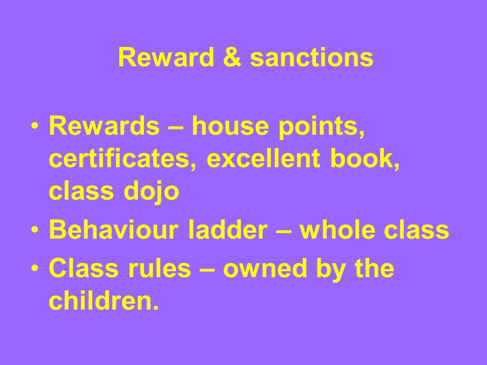 Reward & sanctions Rewards – house points, certificates, excellent book, class dojo Behaviour ladder – whole class Class rules – owned by the children