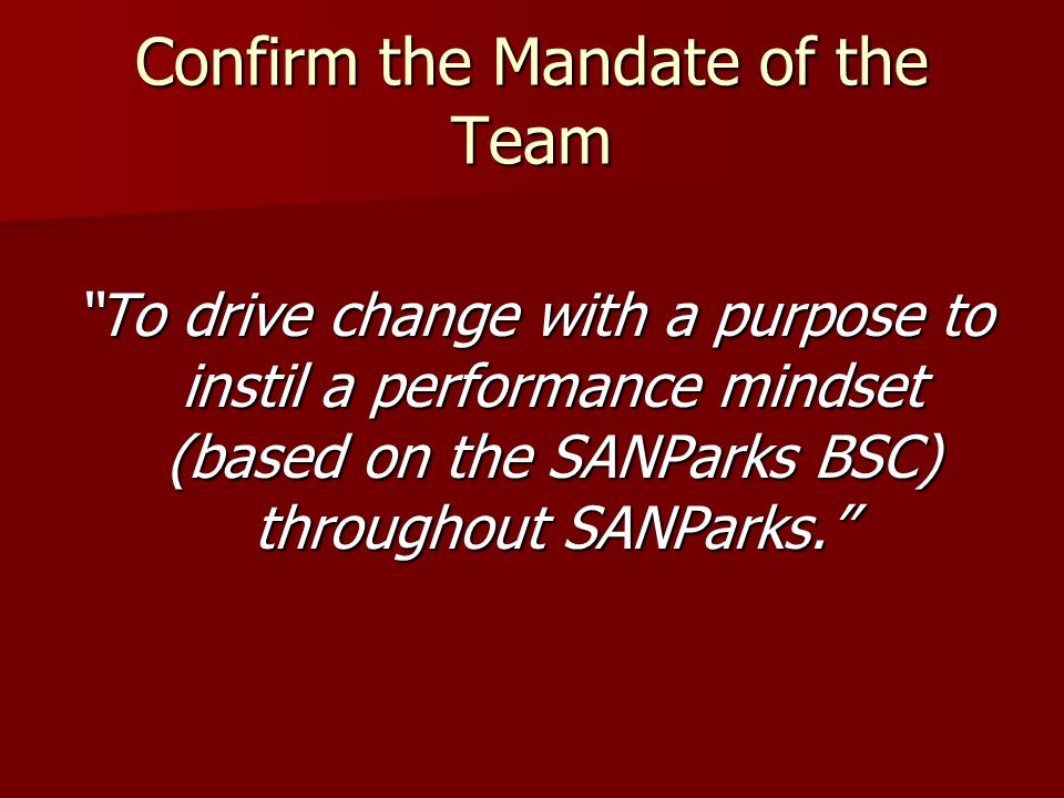 Confirm the Mandate of the Team To drive change with a purpose to instil a performance mindset (based on the SANParks BSC) throughout SANParks.
