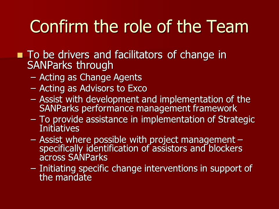 Confirm the role of the Team To be drivers and facilitators of change in SANParks through To be drivers and facilitators of change in SANParks through –Acting as Change Agents –Acting as Advisors to Exco –Assist with development and implementation of the SANParks performance management framework –To provide assistance in implementation of Strategic Initiatives –Assist where possible with project management – specifically identification of assistors and blockers across SANParks –Initiating specific change interventions in support of the mandate
